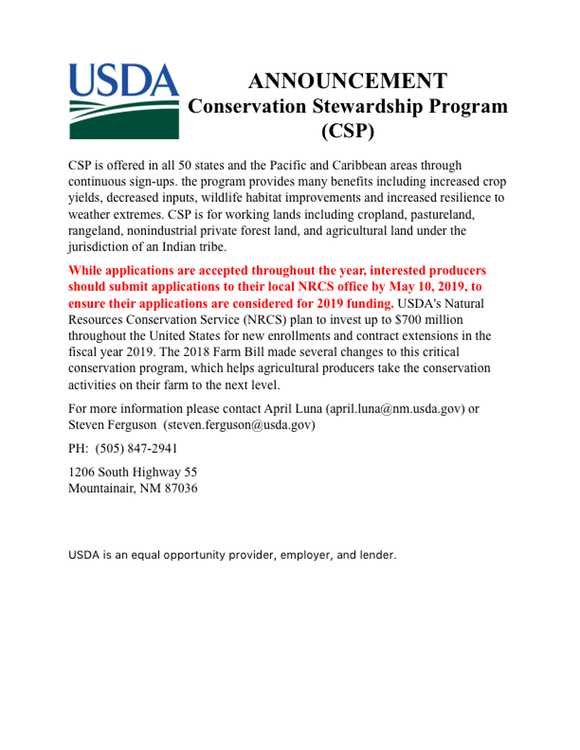 NRCS CSP ANNOUNCEMENT 2019
